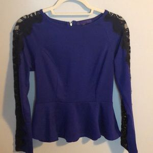 Forever 21 Purple & Black Lace Peplum Top